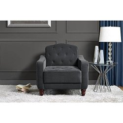 Novogratz Vintage Tufted Armchair Gray