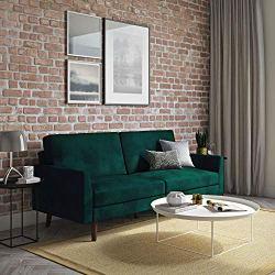 Independently Encased Coils and Soft Velvet for Top Comfort, Green Velvet