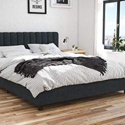 Novogratz Brittany Upholstered Bed Queen Blue Linen