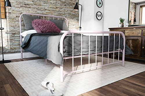 Metal Bed Frame with Under Bed Storage, Pink