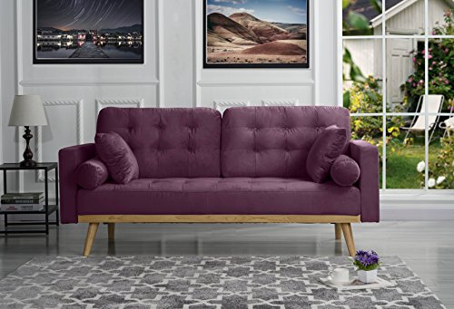 Mid-Century Modern Tufted Velvet Fabric Sofa (Purple)