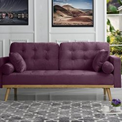 Mid-Century Modern Tufted Velvet Fabric Sofa (Purple)
