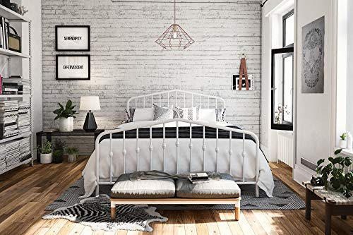 Novogratz Bushwick Metal Bed, Queen White