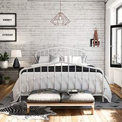 Novogratz Bushwick Metal Bed, Queen White
