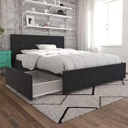 Novogratz Kelly Bed with Storage, Queen, Dark Gray Linen