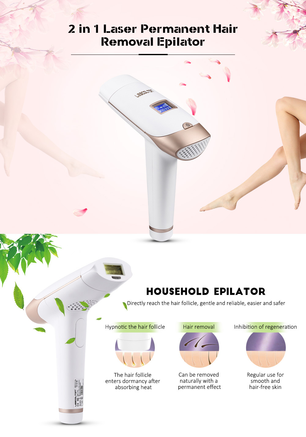 Lescolton 2in1 IPL Laser Hair Removal Machine Permanent Laser Epilator Hair Removal Laser Bikini Trimmer Electric Depilador 8