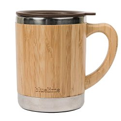 Bluelime Bamboo Coffee Mug - Stainless Steel Wooden Coffee Tea Mug