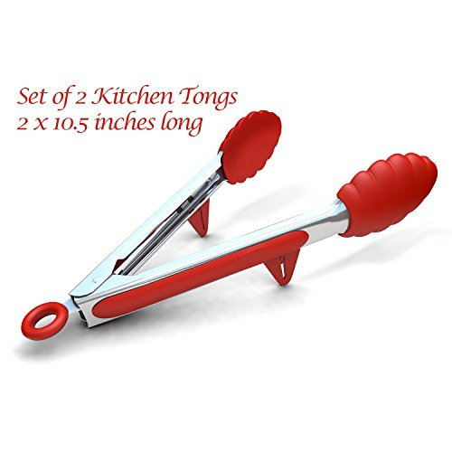 """Kitchen Tongs with Built-in Stand, Set of 2, Red, 10.5 Inch, We name our Stainless Steel Cooking Tongs """"Professional Grade"""" as a result of these are severe tongs for severe meals dealing with, although hobbyists will discover them equally unimaginable. Manufactured of robust chrome steel with ergonomic insets of gentle silicone, proof against warmth and optimized for gripping. These tongs put you in complete management of the meals. Thick, meaty ribs, skinny lower pork, plump cuts of rooster, frizzling bacon strips, and extra. Tongs are 10.5 inches throughout, open broad, and are tipped with extra-large rubber clam shell-shaped pincers to seize, flip, and shift all of your substances, even those on the hottest temperature. Much less struggling, extra dabbling, so your recipes come out simply how you want them. Good for frying, cooking, deep frying, grilling, or barbecue."""