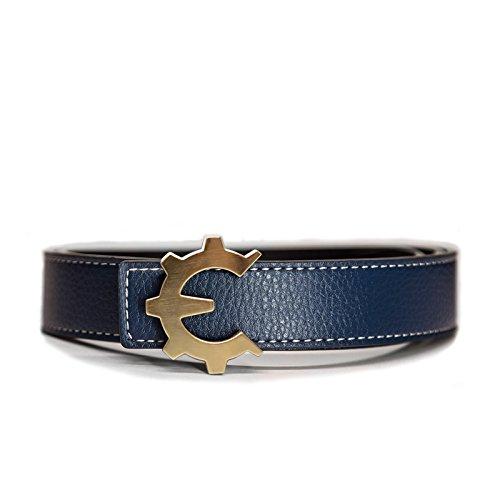 Genii Leather Belt - Brushed Gold Buckle, Blue/Black Leather