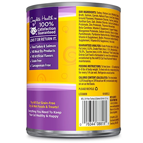 Wellness Natural Grain Free Wet Canned Cat Food, Turkey & Salmon Pate Wellness Natural Grain Free Wet Canned Cat Food, Turkey & Salmon Pate, 12.5-Ounce Can (Pack Of 12).