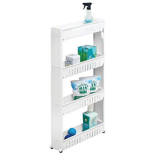mDesign Portable Slim Plastic Rolling Laundry Utility Cart