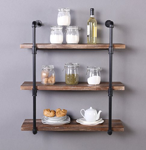 Homissue 31.5-Inch Industrial Pipe Shelf, 3-Shelf Metal Bookcases Furniture