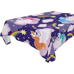 Rectangular Watercolor Unicorn Rainbow Cloud Tablecloth Table Cloth Cover