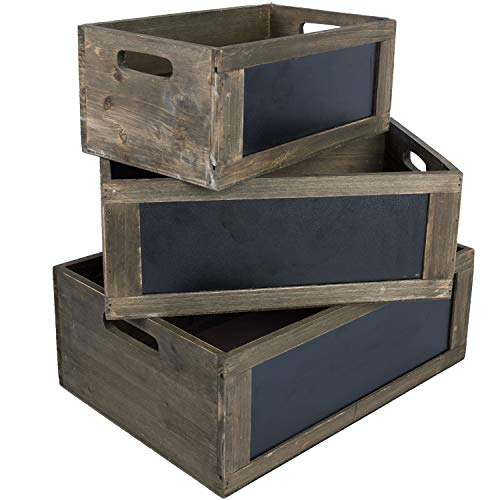 MyGift Rustic Brown Wood Nesting Storage Crates