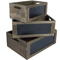 MyGift Rustic Brown Wood Nesting Storage Crates