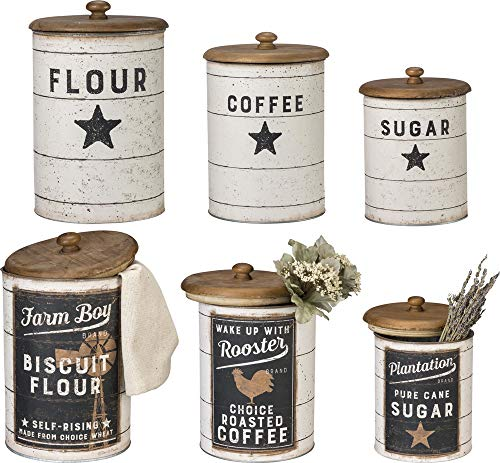 Primitives by Kathy Farmhouse Tin Canisters, Sugar, Coffee