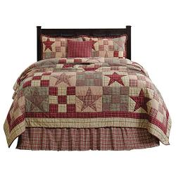 Primitive Country, Star Patch Red Queen 5 Piece Quilt Set