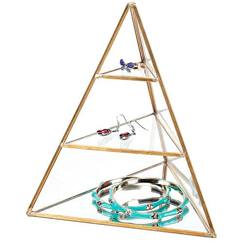MyGift 3-Tier Glass Pyramid Jewelry Stand Display Case