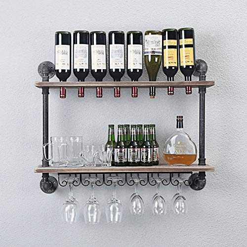 WGX Design For You Industrial Rustic Wall Mounted Wine Racks