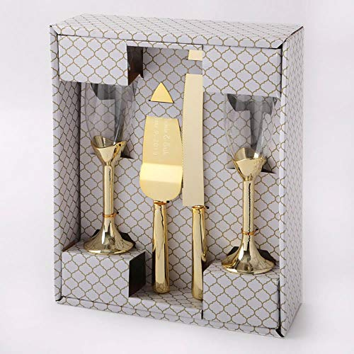 Engraved Gold 4 Piece Champagne Glass and Cake and Knife Servers Wedding