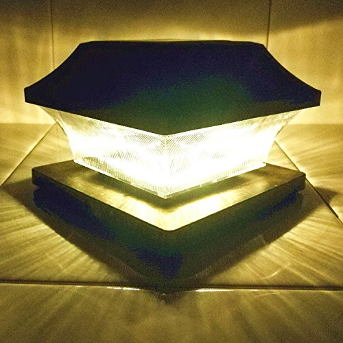 "Solar Post Cap Lights Outdoor 5"" Root Vinyl Silver Lantern"