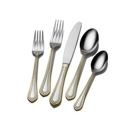 Mikasa Regent Bead Gold 65-Piece Stainless Steel Flatware Set