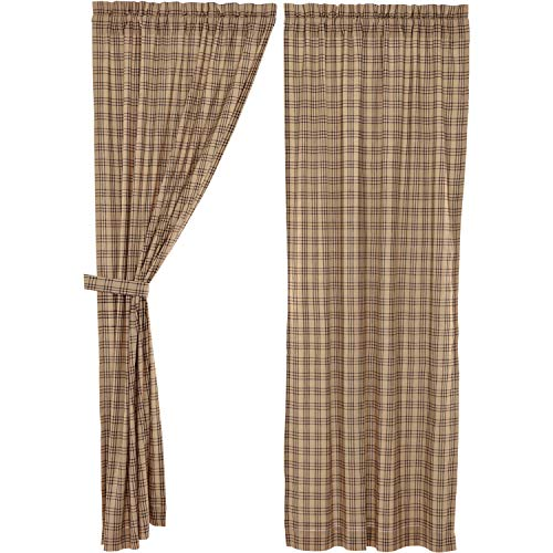 VHC Brands Farmhouse Window Sawyer Mill Tan Curtain Panel Pair