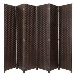 MyGift Large Woven Paper Rattan 6-Panel Room Divider