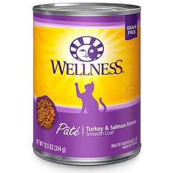 Wellness Natural Grain Free Wet Canned Cat Food, Turkey & Salmon Pate