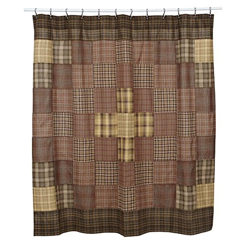 VHC Brands Rustic & Lodge Bath - Prescott Brown Shower Curtain