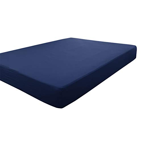 PICCOCASA Full Fitted Sheet, Solid Color Fitted Bed Sheet