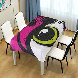 lightly Rectangle Tablecloth,Pop Art Eye Washable Polyester Table Cover