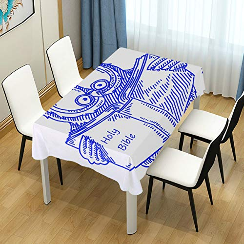 lightly Rectangle Tablecloth,Wise Owl Reading Holy Bible Washable Polyester
