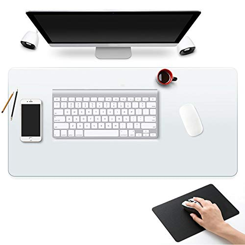 "Clear Desk Pad Blotter Mats Office Table Protector on Top of Desks for Laptop Computer Desktop Keyboard Pads Plastic Transparent Wipeable Waterproof Mat Vinyl PVC Large 24 x 36"" with Mouse Pad"