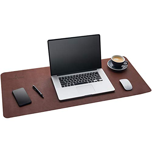 Gallaway Leather Desk Pad - Dark Brown (36 x 17) Extended Non Slip Desk Protector Premium PU Leather