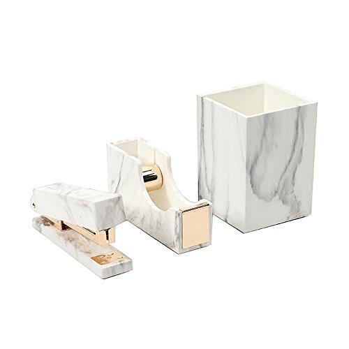 3 Pack White Marble Print ABS Desk Pen Holder Cup, Tape Dispenser Holder, Desktop Staplers for Office Accessories Supplies (Pen Holder & Tape Dispenser & Stapler)