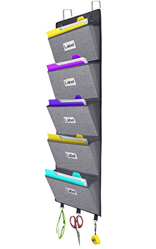 Over The Door Hanging File Organizer Wall Mounted, Office Supplies Storage Holder Pocket Chart for Magazine,Notebooks,Planners,File Folders,5 Large Pockets Grey