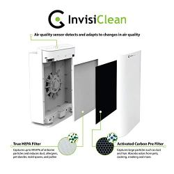 InvisiClean Sensa Air Purifier for Home with Auto Sensing Air Quality Monitor By the point you discover dangerous air high quality it's too late, you're already stuffy, congested, and never feeling properly. The InvisiClean Sensa solves this drawback by always analyzing and detecting adjustments in air high quality and adjusting it is energy to match what's wanted to scrub your air. The result's highly effective, environment friendly air cleansing solely whenever you want it.