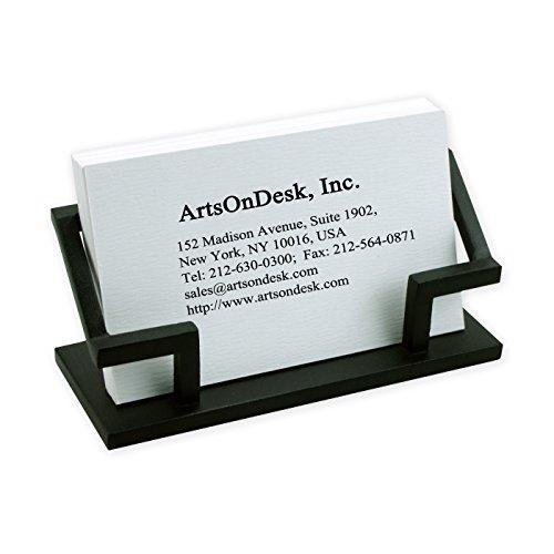 ArtsOnDesk Modern Art Business Card Holder Steel Black Patented