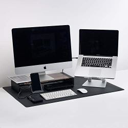 Artificial Leather Smooth Desk Mat Blotter Protector Package deal Content material: Giant Artificial Leather Smooth Desk Mat Protector - Black