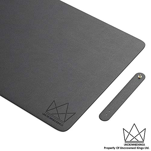 Uncrowned Kings Desk Pad - 35.4 X 17.7 Inches Premium Home Office Desk Mat Protector for Wooden, Glass Desktops - Black PU Leather - Waterproof - Extended Mouse Pad - Smooth for Writing - Desk Blotter