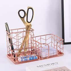 Simmer Stone Rose Gold Office Supplies, 4 in 1 Decorative Desk Accessories