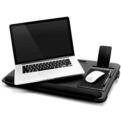 Laptop Lap Desk Tablewith Tablet Tray,Cell Phone Tray,Pen Tray,Built-in Laptop Stop Bar,Built-in Mouse Pad, Pillow Foam Cushion, Soft Wrist Rest Fits Laptop Up to 17.3 Inch