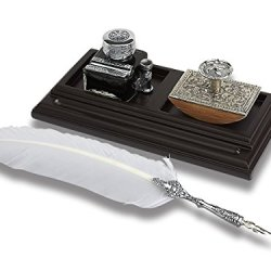 Classic Writer's Desk Organizer Bundle with White Quill Pen Inkwell & Blotter