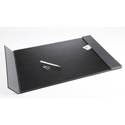"""Artistic 24"""" x 19"""" Monticello Executive Leather-Like Desk Pad with Side Rails, Black/Grey Side Rails"""