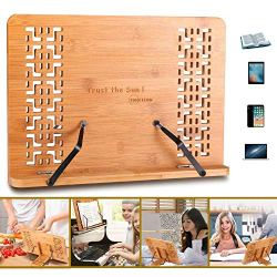 SUNFICON Large Cookbook Holder Bamboo Book Stand Textbook