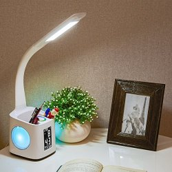Wanjiaone Study LED Desk Lamp with USB Charging Port&Screen&Calendar