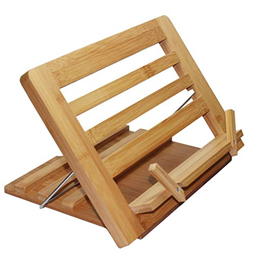 Bamboo Book Stand, Adjustable Reading Cookbook Recipe Holder Tray