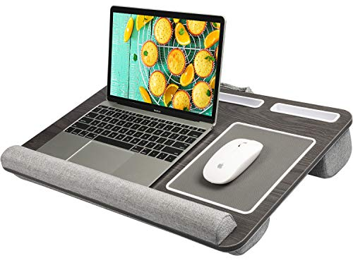 HUANUO Lap Desk - Fits up to 17 inches Laptop Desk, Built in Mouse Pad & Wrist Pad for Notebook, MacBook, Tablet, Laptop Stand with Tablet, Pen & Phone Holder