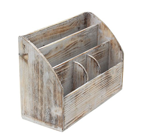 Vintage Rustic Wooden Office Desk Organizer & Mail Rack for Desktop, Tabletop, or Counter - Distressed Torched Wood - for Office Supplies, Desk Accessories, Mail